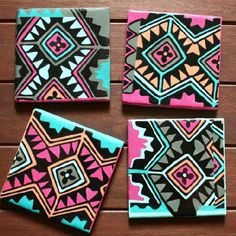 Modern, bright and on trend--these Aztec tile coasters are easy to make at home.