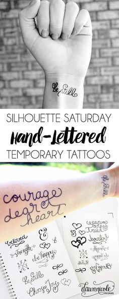 Create your own Hand-Lettered Temporary Tattoos with this free Silhouette Cut File! | dawnnicoledesigns.com