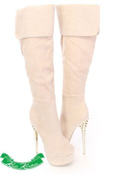 Featuring a faux suede upper, almond shaped closed toe, side zipper closure, stitched detailing, cuffed knee high boots with plastic metallic, spiked studded heels complete with a smooth lining and cushioned footbed. Approximately 6 inch heels, 1 3/4 inch platform, 15 inch shaft, and 16.5 inch circumference.