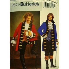 Amazon.com: Butterick P379 Historical Costume Pattern, Pirate Captain Mens Size L, XL (42-48): Arts, Crafts & Sewing