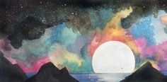 #moon #lake #mountain #watercolor #painting #galaxy #space