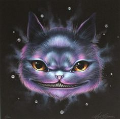 CHESHIRE CAT BY MAB GRAVES Cheshire Cat Art, Chesire Cat, Animal Drawings, Art Drawings, Twisted Disney, Adventures In Wonderland, Surreal Art, Big Eyes, Cats And Kittens