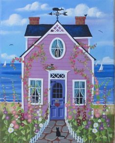 Hollyhock Cottage Folk Art Print by KimsCottageArt on Etsy