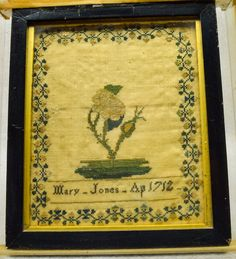 """Very Early Antique American Sampler """"Mary Jones"""" Rose Bud Design dated 1712"""