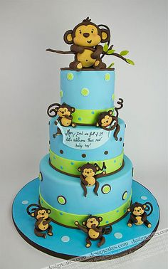baby monkey baby shower cake - using purple (lilac or lavender) and green instead of blue and green. Baby Cakes, Baby Shower Cakes, Cupcake Cakes, Pretty Cakes, Cute Cakes, Beautiful Cakes, Amazing Cakes, Love Cake, Cake Creations