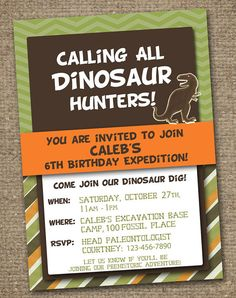 DINOSAUR INVITATION  - custom Printable for a Dino Birthday Party. Choose your background and wording.    @ReneesSoirees