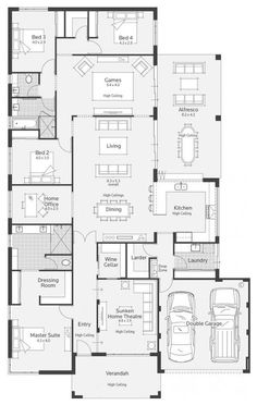 Archipelago I Display Home - Lifestyle Floor Plan Dream House Plans, House Floor Plans, Modern House Plans, Home Design Plans, New Home Designs, House Blueprints, Building Plans, Building A House, Story House