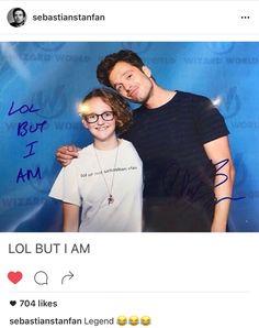 Her shirt says lol ur not sebastian stan. He signs it, saying Lol but I am. Marvel Dc, Marvel Actors, Marvel Comics, Dc Memes, Marvel Memes, Marvel Funny, Sebastian Stan, Destiel, Johnlock