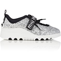 Miu Miu Women's Logo-Strap Glitter Platform Sneakers ($590) ❤ liked on Polyvore featuring shoes, sneakers, silver, platform sneakers, platform shoes, glitter sneakers, platform lace up shoes and monk-strap shoes