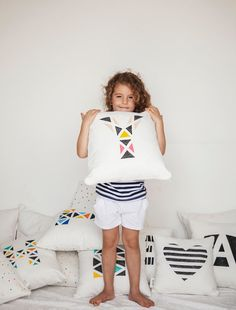 Modern Kids Letter Cushion Cover Personalized Throw by twodotsshop