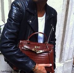 leather jacket and Hermes Kelly handbag in croco skin for chic fall streetstyle. #TheyAllHateUs #hermes - bags, moda, balenciaga, clutch, hermes, hermes bag *ad