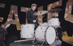 Ringo Starr at the drums during a rehearsal for the Beatles' first appearance on the 'Ed Sullivan Show,' February 8, 1964.