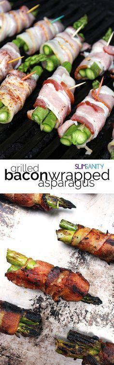 Grilled bacon-wrapped asparagus - the perfect appetizer for your next cookout! | http://slimsanity.com