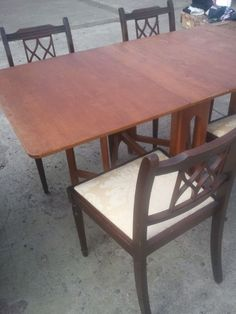 Vintage Solid Wood Foldable Dining Table with gate legs and 4 Chairs. | Islington, London | Gumtree
