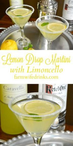Lemon Drop Martini with Limoncello - The Farmwife Drinks A Lemon Drop Martini is sweet and tart with lots of lemony flavors. The addition of limoncello helps make this lemon drop martini recipe perfect. Refreshing Drinks, Summer Drinks, Cocktail Drinks, Alcoholic Drinks, Beverages, Sweet Cocktails, Cocktail Recipes, Party Drinks, Cocktail List