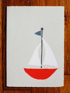 Red Sailboat blank greeting card. $5.00, via Etsy.
