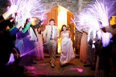 Glow stick departure, Bride and Groom