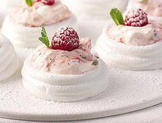 Meringue nests with summer berries Mini Desserts, Just Desserts, Delicious Desserts, Dessert Recipes, Yummy Food, Bbc Good Food Recipes, Cooking Recipes, Uk Recipes, Easy Recipes