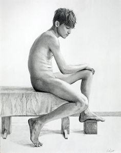 Pencil drawing by me: *Seated Male Nude*; 11 x 14 cms.