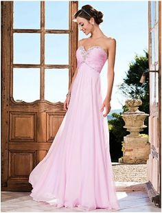 122.00 Graceful A-line Sweetheart Floor-length Chiffon Beading Bridesmaid Dresses -  Approved colors purl pink, champaign and gold