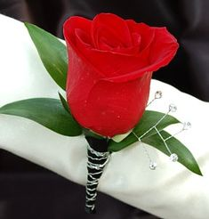 Red Rose Boutonniere - Black