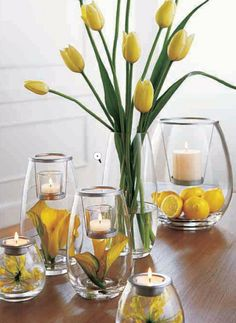 Candles | Velas | yellow | decor | flowers | wedding centerpiece