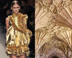 Side by Side Images Reveal How Much High Fashion is Inspired by Architecture We look at the cross-pollination of fashion and architecture and how high fashion is influenced by architecture from Balmain to Givenchy. Fashion History, Fashion Art, High Fashion, Fashion Outfits, Haute Couture Style, Givenchy, Balenciaga, Hijab Mode Inspiration, Style Inspiration