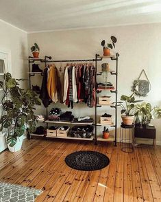- A mix of mid-century modern, bohemian, and industrial interior style. Home and apartment decor, decoration ideas, home Aesthetic Room Decor, Dorm Room, Dorm Closet, Bed Room, Home Furnishings, Home Furniture, Plywood Furniture, Wardrobe Furniture, Plywood Floors