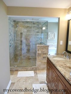 When we redo the master bath we want to do away with the tub & put in a shower something like t his but perhaps with some block glass.