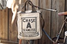 Chase A Seamless - Chicago - Americana Vintage Seed Feed Sack Book Tote- OOAK Canvas & Leather Tote... Selina Vaugha