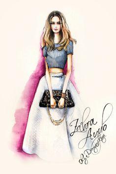 OlgaDvoryanskaya olga@pr-butik.com zahra ayub trendsetter la Los Angeles fashion illustration chanel bag watercolor