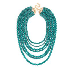 BaubleBar Bold Beaded Strands-Teal found on Polyvore featuring polyvore, fashion, jewelry, necklaces, multi strand chain necklace, multiple chain necklace, multi row necklace, multi strand beaded necklace and beading necklaces