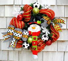 Christmas Wreath for Door Snowman Red White Black Green Deco Mesh 24 in Handmade