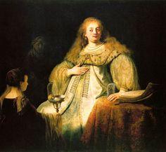 Rembrandt's vrouw met prachtige juwelen