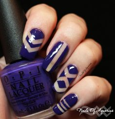 Purple Negative Space Nail art for Geometric #NAILlinkup