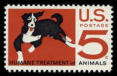 This 5-cent Humane Treatment of Animals commemorative stamp was first placed on sale on April 9, 1966, at New York, New York, where 100 years prior, the American Society for the Prevention of Cruelty to Animals was founded by Henry Bergh.