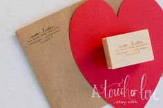 "Custom Design Return Address Stamp. $27.95 A touch of love (1"" x 1.5"")"