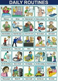 Useful English Phrases to Describe Your Daily Routines – ESL Buzz English Verbs, Kids English, English Phrases, English Study, Learn English, English Posters, Games In English, English Lessons For Kids, English Grammar