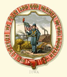 Iowa state coat of arms (illustrated, 1876)