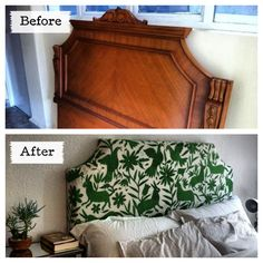 I had this antique headboard that belonged to my grandma, I decided to use the form of the wood and upholster it with a traditional Mexican fabric. I love how it turned out. - for vintage Mexican items for your home, visit www.mainlymexican.com #Mexico #Mexican