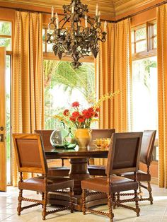 Fall Colors: Decor with Red, Orange, Gold & Brown | Living room in cramberry and golden maize tones