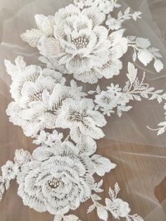Exquisite Cotton Lace Applique Cream EmbroideryWedding by lacetime