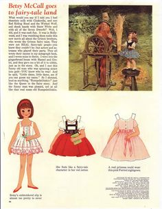 Betsy McCall Paper Dolls   ~ In McCalls Magazine ~   In this issue, Betsy  goes to fairy-tale land...August 1962