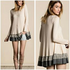 Cream Ruffle Tunic Sizes SML Restocked Ruffled Tunic with grey and charcoal Ruffle hem, Boutique quality material is rayon and spandex  Sizes available S,M,L  Price Firm unless bundled  Like my page on Facebook Sweet-bb Boutique  Tops Tunics