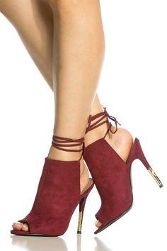Amore High Heels Sandals – Burgundy