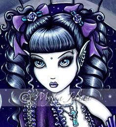 Items similar to Mia Purple Moon Victorian Cat Fairy Art Signed Print by Myka Jelina on Etsy Fairy Sketch, Disney Silhouettes, Traditional Japanese Tattoos, Butterfly Fairy, Gothic Fairy, Fairy Figurines, Sugar Skull Art, Lowbrow Art, Eye Art