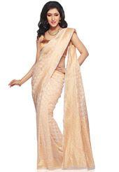 c073519858b Off White Pure Silk Georgette Banarasi Handloom Saree with Blouse