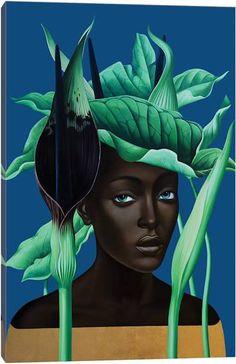 "crystalline-aesthetics: "" Slava Fokk "" After the Rain Arum Rosa de Monte Banana "" Jungle Queens series, oil and gold leaf on canvas "" Canvas Artwork, Canvas Art Prints, Art Magique, Jungle Queen, Arte Black, Best Canvas, Russian Art, African Art, Female Art"