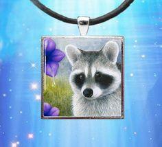 Handmade Glass Pendant Tray Raccoon 20 Jewelry by artbyLucie, $11.00