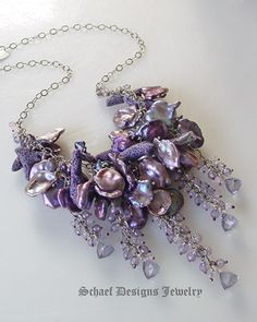Purple coral, petal pearl, scorolite, mystic blue quartz, & sterling silver necklace | artisan handcrafted pearl & gemstone jewelry | online upscale designer jewelry gallery boutique | Schaef Designs designer pearl & gemstone jewelry | San Diego, CA